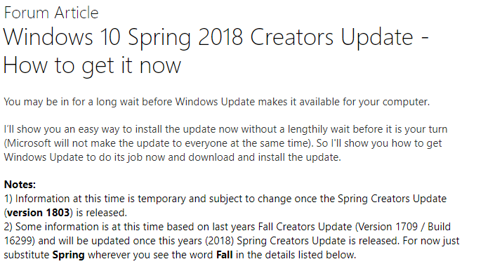 Actualización de Primavera para Windows 10