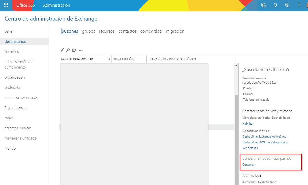 Píldora para Administradores de Office 365: convertir buzón de Exchange en compartido