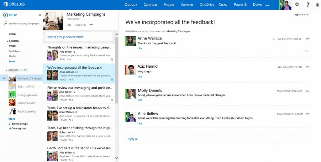 Mejoras en Outlook para la Web a la vista