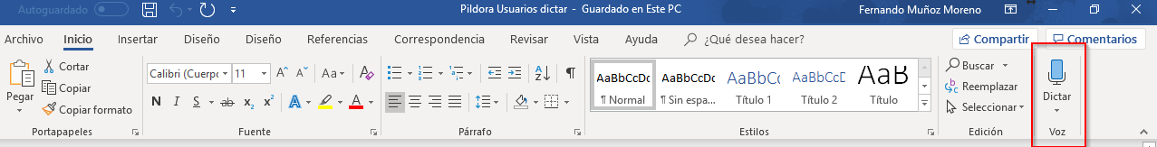 Píldora para usuarios de Office 365: Dictar en Word y Outlook