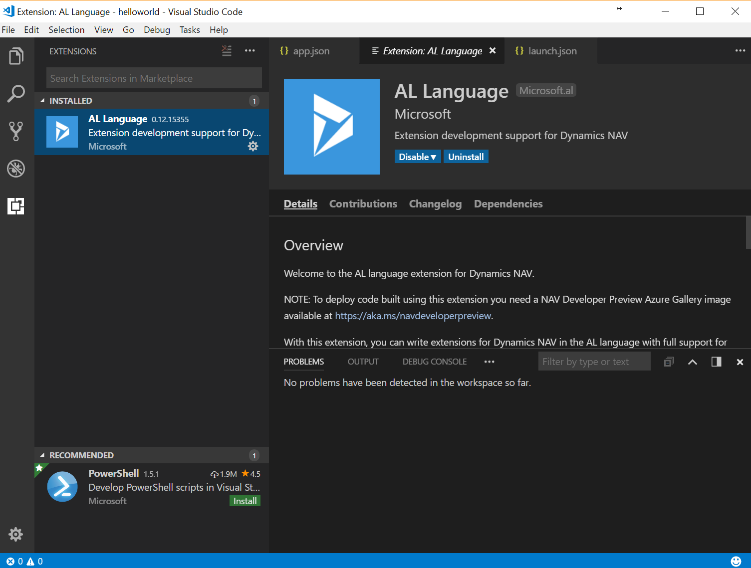 Configuración de Visual Studio Code con Dynamics NAV 2018
