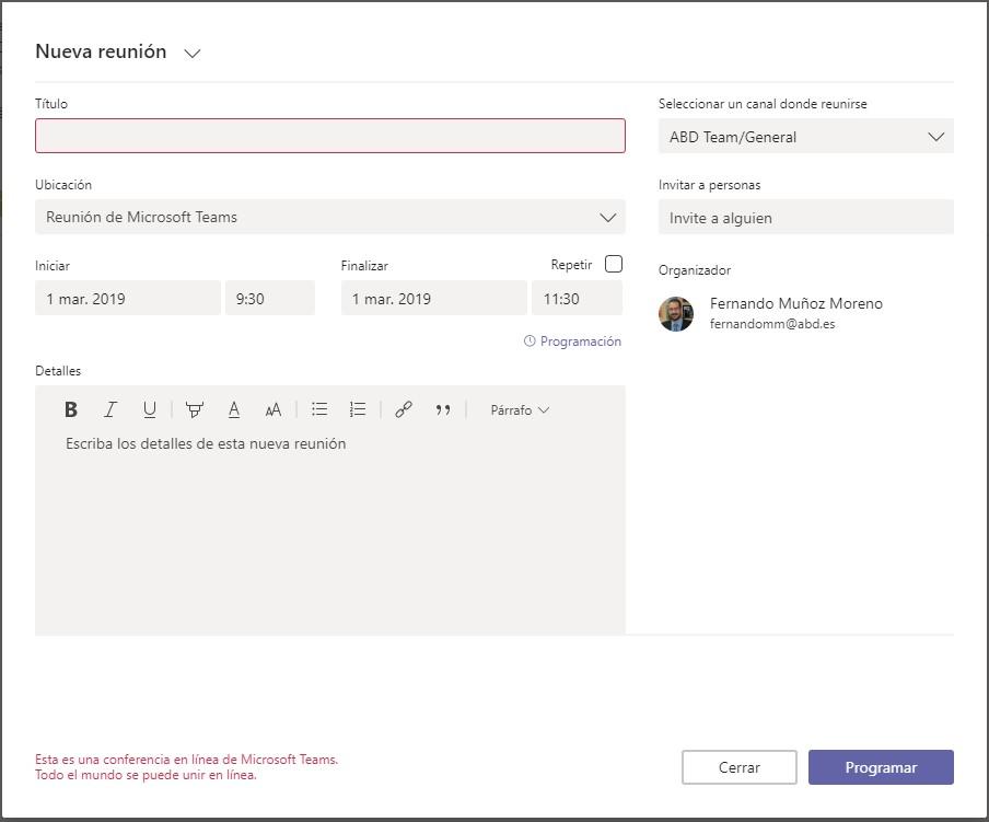 Outlook mobile permite gestionar reuniones de Microsoft Teams