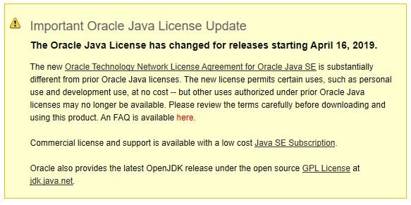 Cambios importantes en la licencia de Oracle Java SE