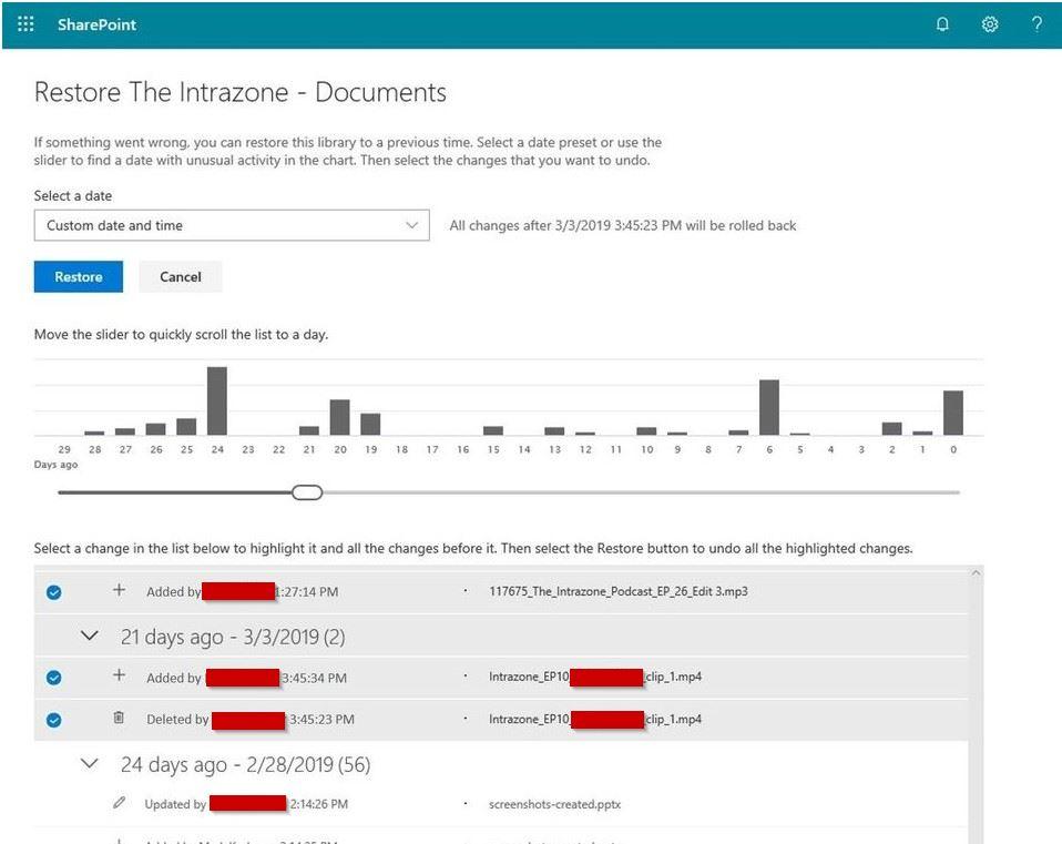 File Restore se empieza a desplegar en SharePoint OnlFile Restore se empieza a desplegar en SharePoint Online y Microsoft Teamsine y Microsoft Teams