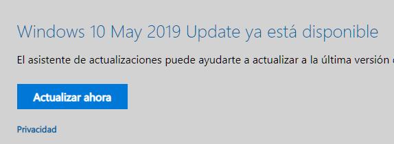 La actualización de Mayo de 2019 de Windows 10 será desplegada mediante IA