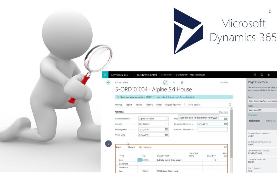 Inspección de la página en Dynamics 365 Business Central