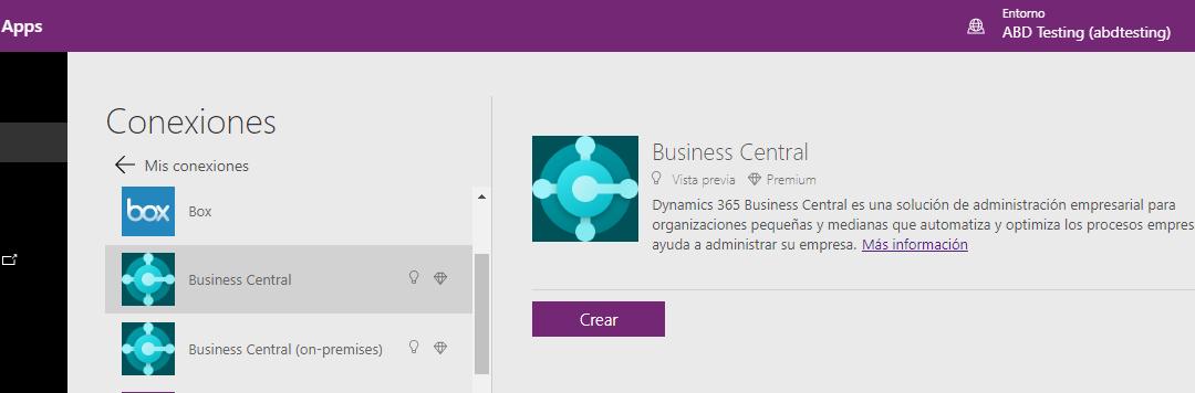 Power Apps y Business Central ya están conectados