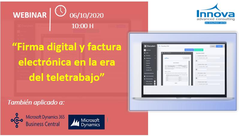 """Inscripción Webinar """"Firma digital y factura electrónica en la era del teletrabajo"""". Martes 6 de octubre a las 10:00h"""
